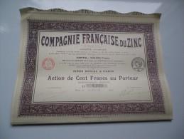COMPAGNIE FRANCAISE DU ZINC (capital 0,9 Million) 1917 - Non Classés