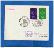 Enveloppe   Cachet Conseil De L´europe 19 Sep 1959 -sur Paire Europa Françe N°1218-9 - Gedenkstempels