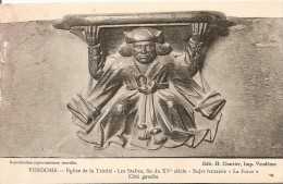 41. CP. Loir Et Cher. Vendome, Eglise De La Trinité, Les Stalles, Sujet Fantaisie La Force, Côté Gauche - Vendome