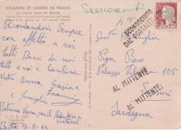 0,25 Marianne De Décaris / CP De Bastia Corse 1964 > Italie Sardaigne Oblitéré Griffe Linéaire Italienne (= Inconnu) - 1960 Marianna Di Decaris