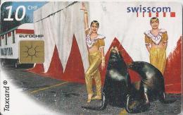Telefoonkaart - Zwitserland. Swiss Telecom. Taxcard. CHF 10. Gemischtes Doppel in Valentina's Vari�t�. foto: Nathan Beck