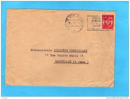 Lettre -cad Poste Aux Armées 1955-+ Flamme Interdit Du N° BPM --SP74622 A Voyagé Vers La Françe - Marcophilie (Lettres)