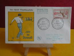 FDC - Sport Traditionalistes Jeu De Boules - Valence Sur Rhône 26.4.1958 - 1er Jour, - FDC
