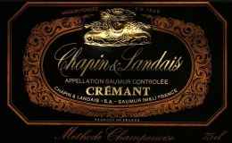Etiquette -   Chapin Landais -  Crémant - Méthode Champenoise    - Saumur - Labels