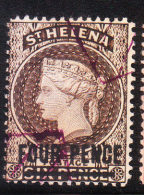 St Helena 1884-94 Queen Victoria 4p On 6p Used - Saint Helena Island