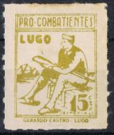 Viñeta Guerra Civil Pro Combatientes LUGO, 15 Cts  * - Viñetas De La Guerra Civil