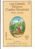 Etiquette RHUM  Agricole - Les Grands Rhums  Charles Simonnet -40% 1l - Médaille Or 1983 -  GUADELOUPE - - Rhum