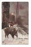 10542 - Bonne Année 1907 Sangliers L. Fromme - Animaux & Faune