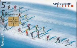 Telefoonkaart - Zwitserland. Swiss Telecom. Taxcard. CHF 5. Langlauf. - foto: Dolf Preisig.