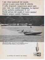 1967 - Candele CHAMPION ( Miss Chrysler Crew / Campionato Mondiale Detroit) - 1 P. Pubblicità Cm.13,5 X18,5 - Sport