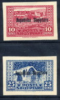 ALBANIA 1925 10 Q And 25 Q Postal Stationery Overprinted Cutouts Valid For Postage, Unused / (*).  Michel IIIa-b - Albania