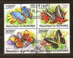 Burundi 2011 OCBn° 1338-41 (°) Used Cote 15 Euro Faune Papillons Vlinders