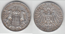 *** HAMBOURG - HAMBURG - ALLEMAGNE - GERMANY - 3 MARK 1909 J - DREI MARK 1909 J - ARGENT - SILVER *** ACHAT IMMEDIAT !!! - [ 2] 1871-1918 : Empire Allemand