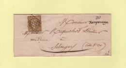 Sacquenay - 20 - Cote d'Or - cursive - sur lettre locale pour Selongey - 10c Ceres n�1 - sans correspondance