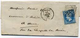 Lettre Avec N° 22 Oblitéré GC  2298 Meaux   Pour  La Chapelle La Reine + Convoyeur  Gare De Lyon   1868 - 1849-1876: Classic Period