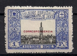 EMISIONES LOCALES GUERRA CIVIL, TÁNGER,  FESOFI  20 **, FALANGE ESPAÑOLA, ASISTENCIA SOCIAL - Spanish Civil War Labels