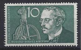 Germany (BRD) 1958  Rudolf Diesel  (**) MNH  Mi.284 - Neufs