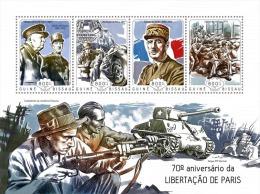 gb14503a Guinea Bissau 2014 Liberation of Paris s/s Winston Churchil Charles de Gaulle ww2  Eiffel tower