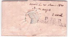 """1820- lettre de BERGEN pour Aups ( Var)  -au dos P.78.P / DRAGUIGNAN + """"arriv�e le 31Mars 1820 B.p. Aups"""