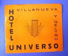 HOTEL PENSION RESIDENCIA UNIVER VILLANUEVA GELTRU BARCELONA SPAIN LUGGAGE LABEL ETIQUETTE AUFKLEBER DECAL STICKER Madrid - Hotel Labels