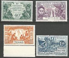 TCHAD EXPO 1931   N� 56/59 NEUF* TTB