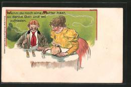 K�nstler-Lithographie Bruno B�rger & Ottillie Nr. 6399: die Mutter schenkt ihrem Sohn Geldst�cke