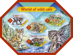 slm14411a Solomon Is. 2014 Shape World of Wild cats s/s Fish