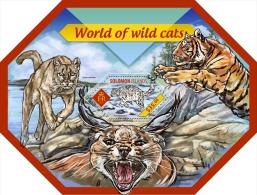 slm14411b Solomon Is. 2014 Shape World of Wild cats s/s Tiger