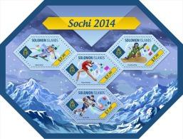 slm14420a Solomon Is. 2014 Winter Olymipc Sochi s/s Alpine skiing Figure skating Snowboarding Ice hockey