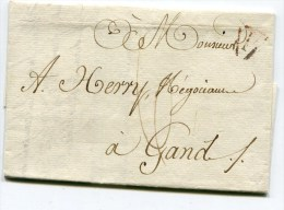 PARIS LAC Du 14/07/1815 Taxée 6 Pour GAND BELGIQUE - Marcophilie (Lettres)