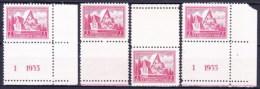 ** Tchécoslovaquie 1935 Mi 336  (Yv 296 ) Les Vignettes Avec No De Planche 1 Et 1 A + Les Vignettes Sans No De Pl, (MNH) - Cecoslovacchia