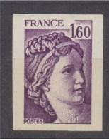 = Sabine De Gandon Timbre Non Dentelé 1f60 Violet Neuf Type Du N° 2060 - Non Dentelés