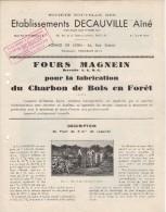 69 LYON PARIS DOCUMENT Ets DECAUVILLE Ainé FOURS MAGNEIN Pour Fabrication Du Charbon De Bois En Forêt  - B46 - Straßenhandel Und Kleingewerbe