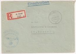 R546 - Recommandé En Franchise ST AVOLD - 1941 - Moselle - Briefstempel Wehrbezirkskommando St Avold -- - Alsace Lorraine