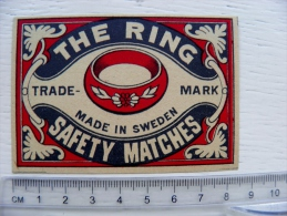 Old Safety Matches Label From Sweden Large Size The Ring Trade Mark - Matchbox Labels