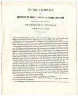 VERSAILLES  OEUVRE NATIONALE  ORPHELINS ET ORPHELINES DE LA GUERRE 1870 1871  -  EPISCOPAT FRANCAIS  4 PAGES