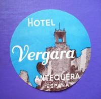 HOTEL PENSION HOSTAL RESIDENCIA VERGARA ANTEQUERA MALAGA SPAIN LUGGAGE LABEL ETIQUETTE AUFKLEBER DECAL STICKER Madrid - Adesivi Di Alberghi