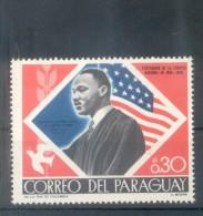 MARTIN LUTHER KING (1929-1968) NOBEL  PEACE PRIZE PREMIO NOBEL DE LA PAZ PRINCIPE DE LA PAZ  1968  PARAGUAY TBE MNH - Martin Luther King