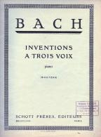 Partition Pour Piano - J.S. BACH - Inventions à Trois Voix. - Klassik