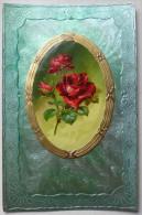 Litho Chromo Relief Fond Vert Nacre Illustrateur V.P.F.  C. KLEIN Fleur Roses Rose Medaillon Voyagé 1908 Timbre Arlon - Klein, Catharina