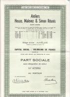 29. BelgiqueAteliers Heuze, Malevez& Simon Réunis, Parts Sociale Sans Désignation De Valeur, Au Porteur  1965 - Shareholdings