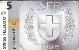 Telefoonkaart - Zwitserland. Swiss Telecom. P-Taxcard. 5 FR. 1996. 2 Scans - Zwitserland