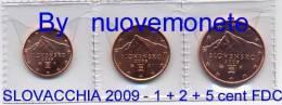 SLOVACCHIA 2009 1 - 2 - 5 CENT FDC TRE MONETE DA ROTOLINO - Eslovaquia