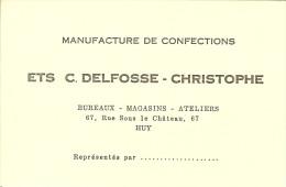 """Carte Publicitaire De HUY """" Manufacture De Confections , Ets C. DELFOSSE-CHRISTOPHE """" - Advertising"""