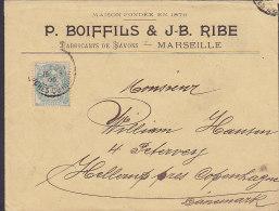 France P. BOIFFLS & J-B. RIBE, MARSEILLE Bouces Du Rhone 1905 Cover Lettre HELLERUP (Arrival) Denmark Type Blanc 2 Scans - 1900-29 Blanc