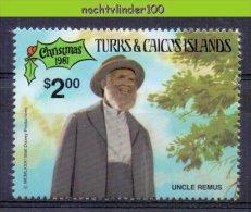 Msn937z WALT DISNEY KERSTMIS BROER KONIJN UNCLE REMUS CHRISTMAS TURKS & CAICOS 1981 PF/MNH - Disney