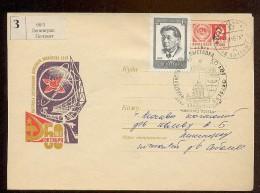 MAIL Post Stationery Cover Used USSR RUSSIA Space Rocket Sputnik Leningrad Sen Katayama Japan Communist - 1923-1991 URSS