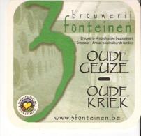 Sous-Bock-Carton Bière -Beersel-Brouwerij- Brasserie-3 Fonteinen-Oude Gueuze-Oude-Kriek (recto)-bio Blond (verso) - Sous-bocks