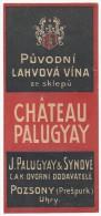 Etichetta Label Luggage - Ungheria Vino Chateau Palugyay - Rouges