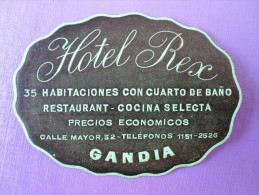HOTEL PENSION HOSTAL REX GANDIA AZAHAR VALENCIA SPAIN LUGGAGE LABEL ETIQUETTE AUFKLEBER DECAL STICKER Madrid - Hotel Labels